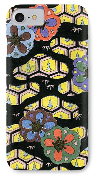 Woodblock Print Of Honeycomb Pattern IPhone Case by Japanese School