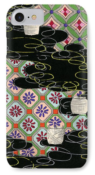 Woodblock Print Of Lanterns On A River IPhone Case by Japanese School