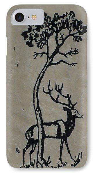Woodcut Deer IPhone Case by Shirley Heyn