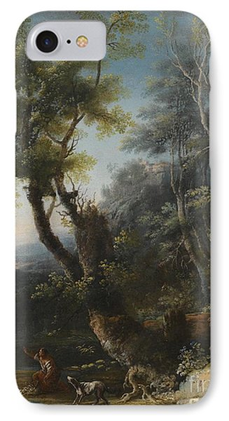 Wooded Landscape With Figures And A Dog IPhone Case by MotionAge Designs