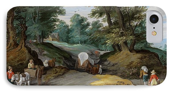 Wooded Landscape With Horses Carts And To The Market Attracting Farmers IPhone Case by Jan Brueghel the Younger
