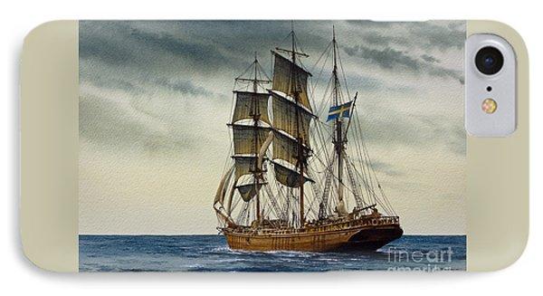 Wooden Barque Under Sail IPhone Case by James Williamson
