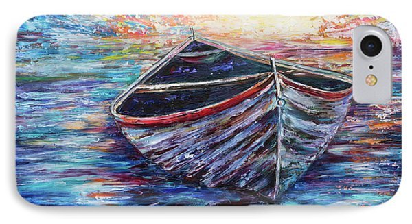 Wooden Boat At Sunrise  IPhone Case by Lena  Owens OLena Art