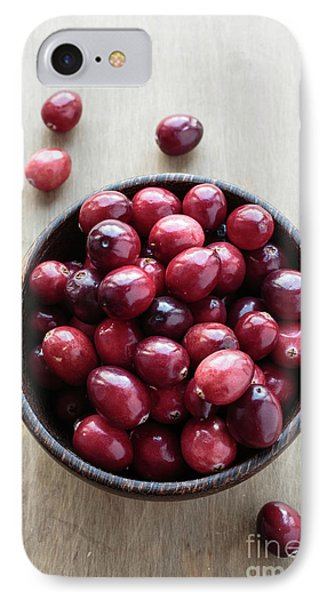 Wooden Bowl Of Ripe Red Cranberries IPhone Case by Edward Fielding