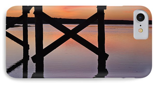 Wooden Bridge Silhouette At Dusk IPhone Case by Angelo DeVal