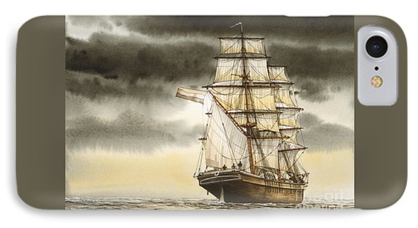 Wooden Brig Under Sail IPhone Case by James Williamson
