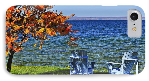 Wooden Chairs On Autumn Lake IPhone Case