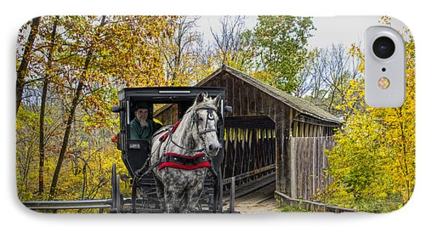Wooden Covered Bridge And Amish Horse And Buggy In Autumn IPhone Case by Randall Nyhof