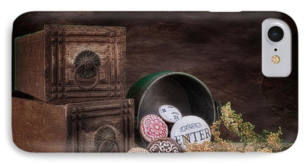 Wooden Drawers And Knobs Still Life IPhone Case