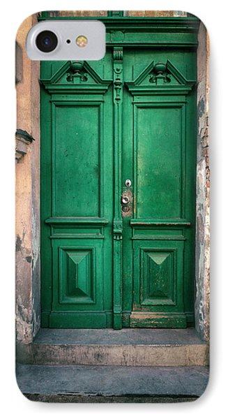 Wooden Ornamented Gate In Green Color IPhone Case by Jaroslaw Blaminsky
