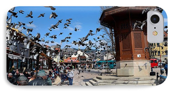 Wooden Ottoman Sebilj Water Fountain In Sarajevo Bascarsija Bosnia IPhone Case