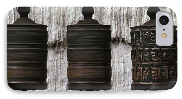 Wooden Prayer Wheels Phone Case by Sean White