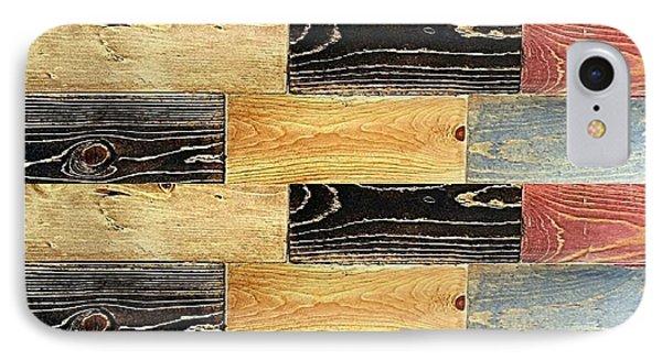 Woodgrain Art Abstract Golds Black Blues IPhone Case by Scott D Van Osdol