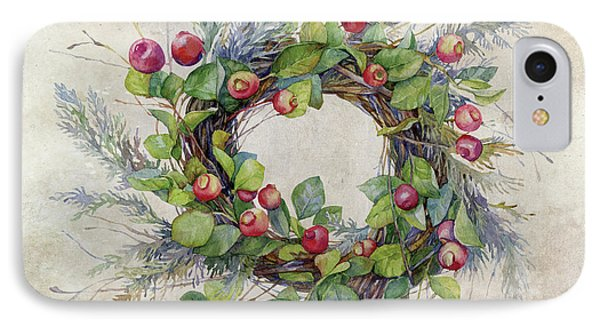 IPhone Case featuring the digital art Woodland Berry Wreath by Colleen Taylor