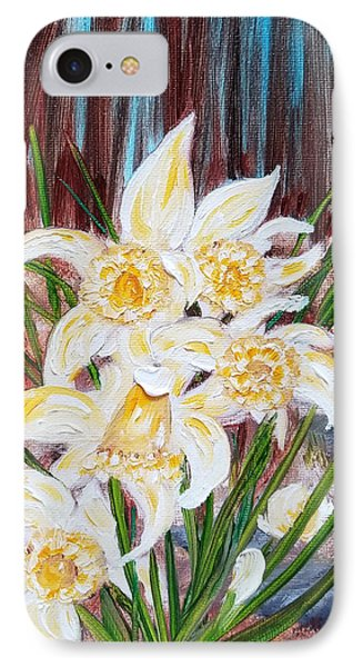 IPhone Case featuring the painting Woodland Daffodils by Judith Rhue