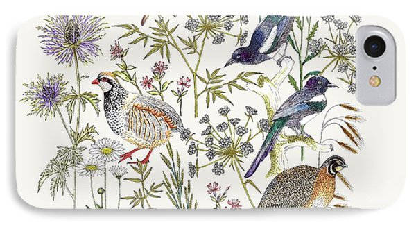 Woodland Edge Birds Placement IPhone Case by Jacqueline Colley