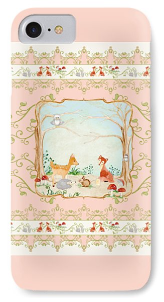 Woodland Fairy Tale - Blush Pink Forest Gathering Of Woodland Animals IPhone Case by Audrey Jeanne Roberts