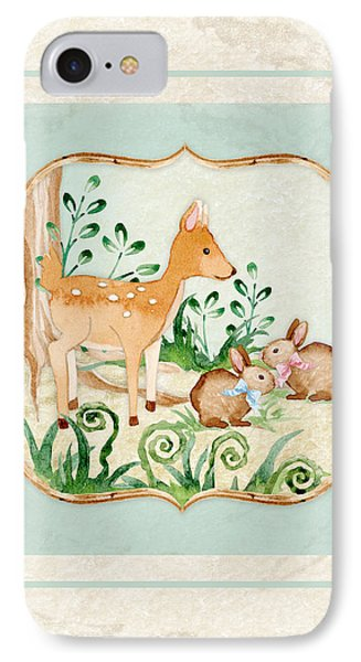 Woodland Fairy Tale - Deer Fawn Baby Bunny Rabbits In Forest IPhone 7 Case by Audrey Jeanne Roberts