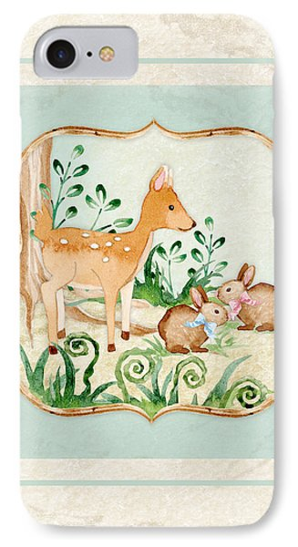 Woodland Fairy Tale - Deer Fawn Baby Bunny Rabbits In Forest IPhone Case by Audrey Jeanne Roberts