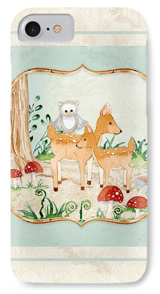 Woodland Fairy Tale - Owl On Deer Fawns Back In Forest IPhone Case by Audrey Jeanne Roberts