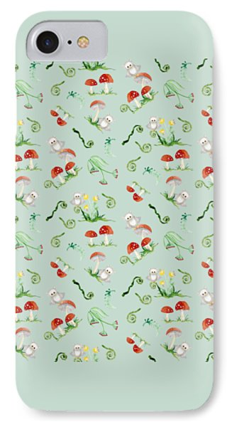 Woodland Fairy Tale - Red Mushrooms N Owls IPhone Case by Audrey Jeanne Roberts