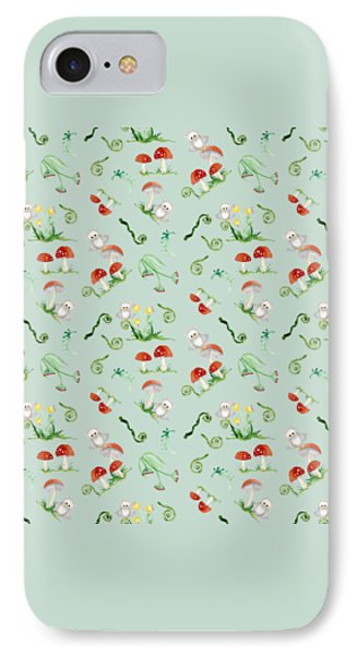Woodland Fairy Tale - Red Mushrooms N Owls IPhone 7 Case by Audrey Jeanne Roberts