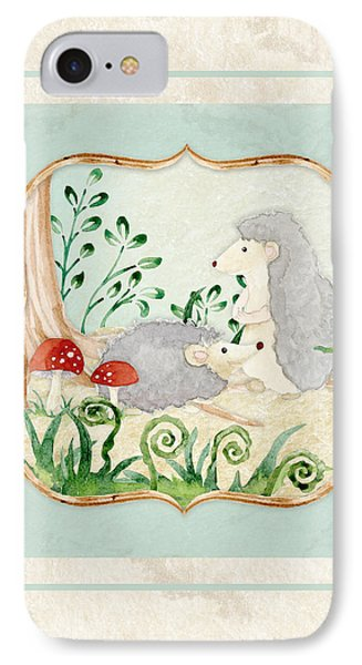 Woodland Fairy Tale - Woodchucks In The Forest W Red Mushrooms IPhone Case by Audrey Jeanne Roberts