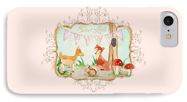 Woodland Fairytale - Banner Sweet Little Baby IPhone Case
