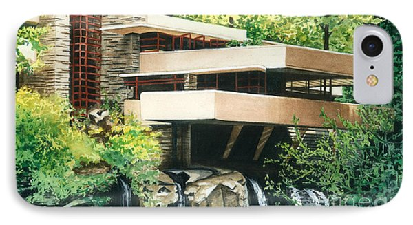 IPhone Case featuring the painting Fallingwater-a Woodland Retreat By Frank Lloyd Wright by Barbara Jewell