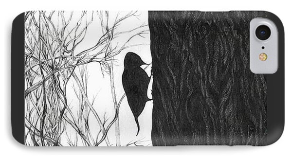 IPhone Case featuring the drawing Woodpecker by Anna  Duyunova