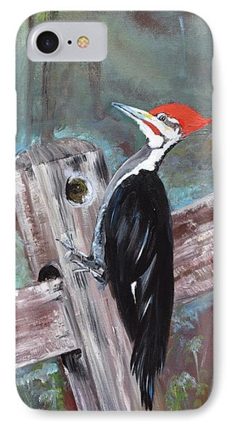 IPhone Case featuring the painting Woody - The Pileated Woodpecker by Jan Dappen