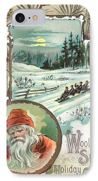 Woolson Spice Company Christmas Card IPhone Case by John Henry Bufford