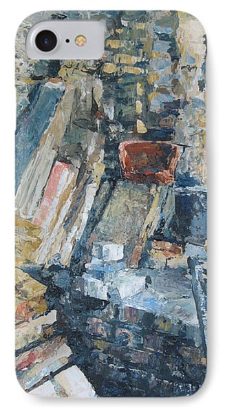 Working To Abstraction IPhone Case by Connie Schaertl