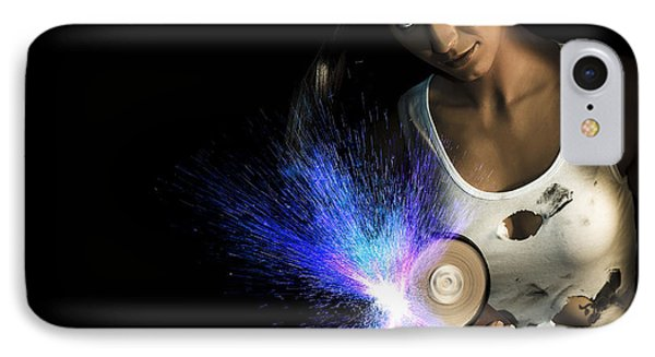 Working Woman With Industrial Tools IPhone Case by Jorgo Photography - Wall Art Gallery