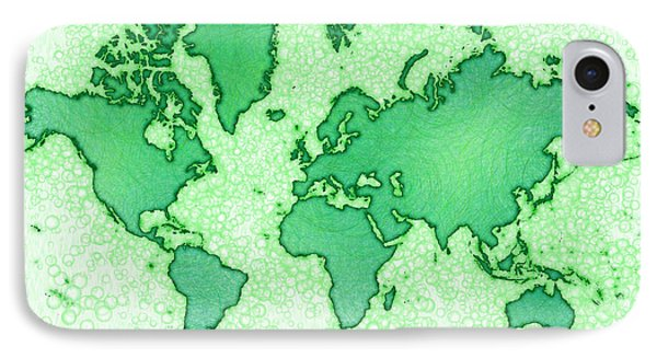 World Map Airy In Green And White IPhone Case by Eleven Corners