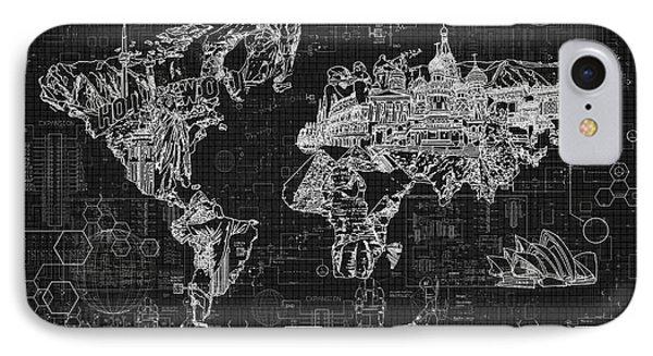 IPhone Case featuring the digital art World Map Blueprint 2 by Bekim Art