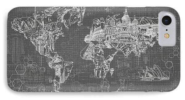 World Map Blueprint 5 IPhone Case by Bekim Art