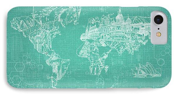 World Map Blueprint 7 IPhone Case by Bekim Art