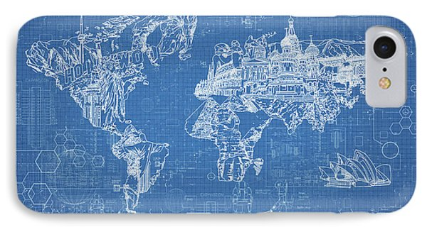 World Map Blueprint IPhone Case by Bekim Art