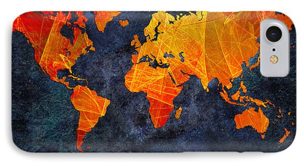 World Map - Elegance Of The Sun - Fractal - Abstract - Digital Art 2 IPhone Case