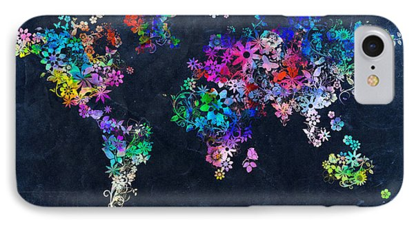 World Map Floral 10 IPhone Case by Bekim Art