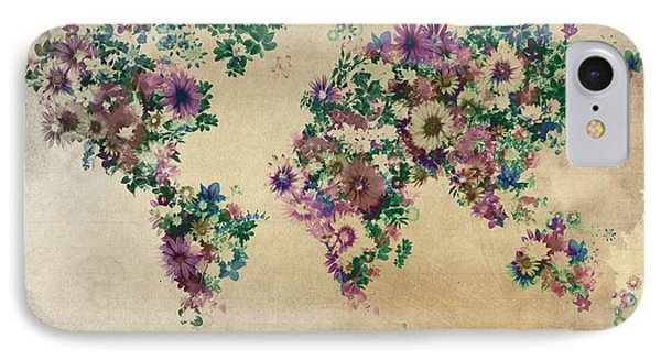 World Map Floral 12 IPhone Case by Bekim Art