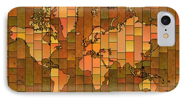 World Map Glasa Brown Orange Green IPhone Case by Eleven Corners