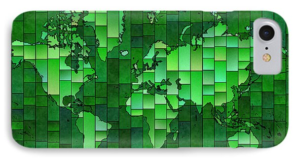 World Map Glasa Green IPhone Case by Eleven Corners