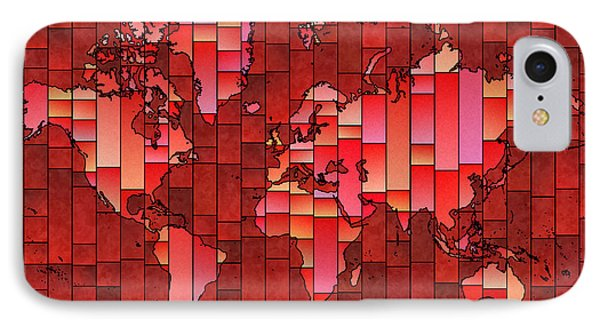 World Map Glasa Red IPhone Case by Eleven Corners