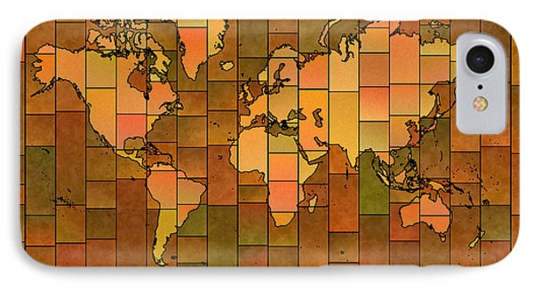 World Map Glasa You Are Here Brown Orange Green IPhone Case by Eleven Corners