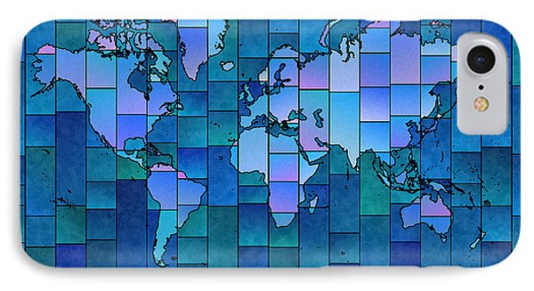 World Map Glasa You Are Here In Blue IPhone Case by Eleven Corners