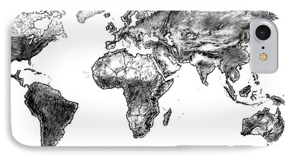 IPhone Case featuring the drawing World Map In Graphite by Heidi Kriel