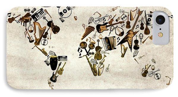 IPhone Case featuring the digital art World Map Music 1 by Bekim Art