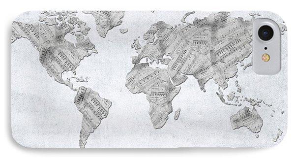 IPhone Case featuring the digital art World Map Music 10 by Bekim Art